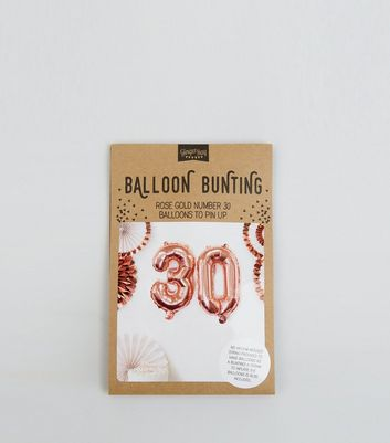 Rose Gold 30 Birthday Party Balloons