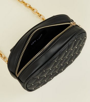 Black Leather-Look Stud Quilted Belt Bag New Look