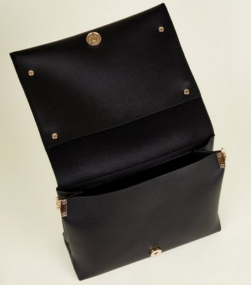 Black Flap Front Ring Chain Shoulder Bag New Look