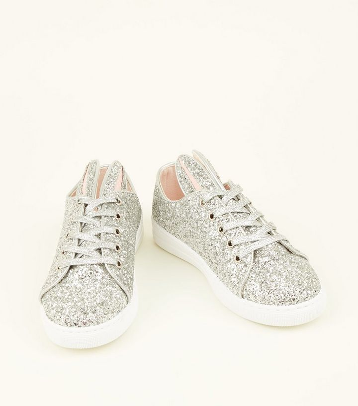 88ed0d55bc69 ... Silver Glitter Bunny Lace Up Trainers. ×. ×. ×. Shop the look