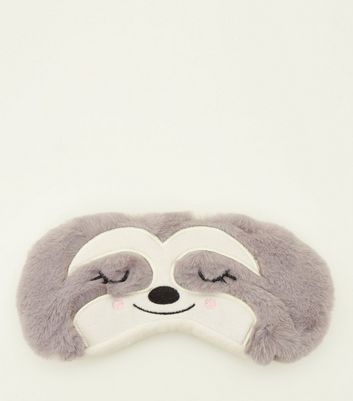 Grey Sloth Faux Fur Eye Mask