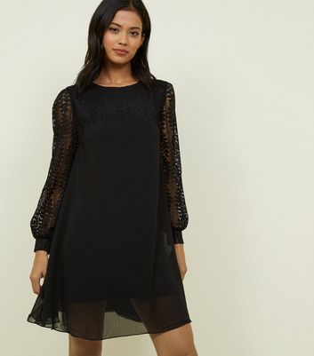 Blue Vanilla Black Lace Sleeve Swing Dress