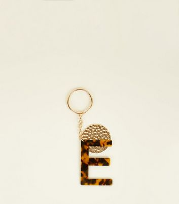 Multicoloured Faux Tortoiseshell 'E' Keyring