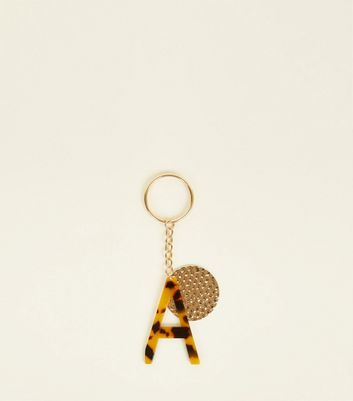 Multicoloured Faux Tortoiseshell 'A' Keyring