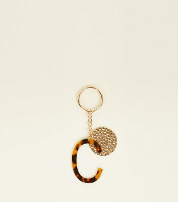 Multicoloured Faux Tortoiseshell 'C' Keyring