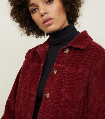 Veste bordeaux en velours côtelé boutonnée à l'avant | New Look