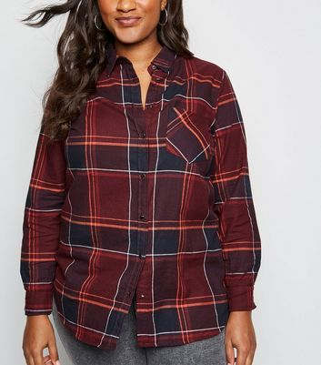 Curves Red Check Pocket Front Shirt