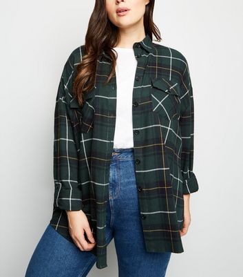 Curves Green Check Pocket Front Cotton Shirt