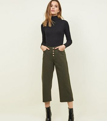 Khaki Button Placket Cropped Wide Leg Jeans