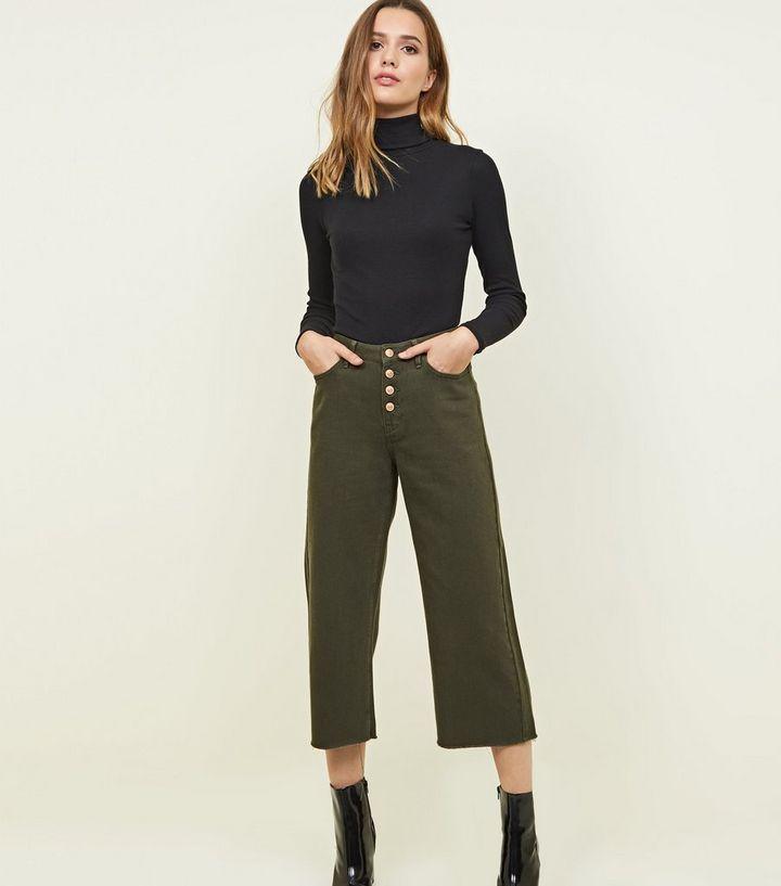 3f06e560c4f8 Khaki Button Placket Cropped Wide Leg Jeans