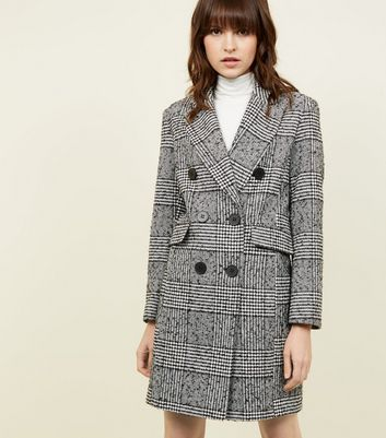 Petite Black Check Double Breasted Coat | New Look