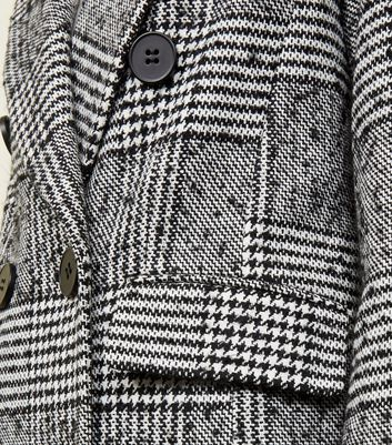 Black check double breasted longline coat