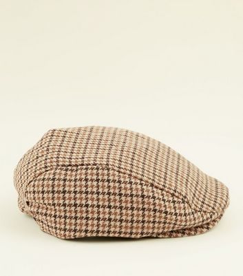 Brown Houndstooth Check Flat Cap