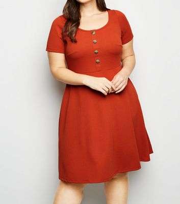 Curves Orange Textured Skater Dress