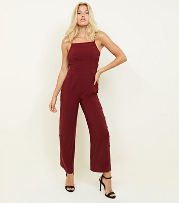 Burgundy Strappy Button Side Jumpsuit