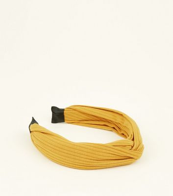 Yellow Ribbed Knot Top Hairband