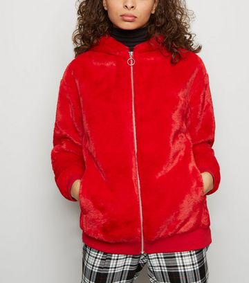 Red Faux Fur Zip Front Hoodie