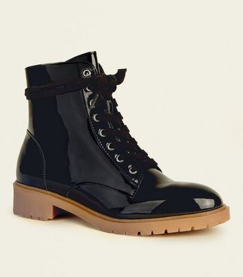 Black Patent Lace-Up Chunky Boots | New