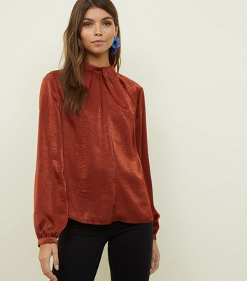 Rust Satin Pleated Front Blouse