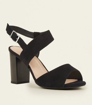 Wide Fit Black Comfort Flex Suedette Asymmetric Heeled Sandals