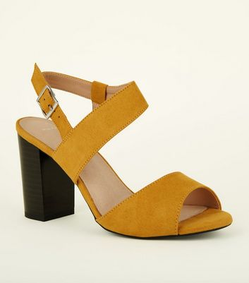 Wide Fit Comfort Flex Suedette Open Toe Block Heels