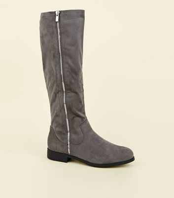 Extra Calf Fit Grey Zip Side Knee High Flat Boots