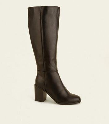 Wide Fit Black Leather-Look Heeled Knee