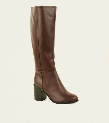 Wide Fit Brown Leather-Look Heeled Knee High Boots