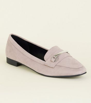 Wide Fit Lilac Matte Suedette Panelled Loafers