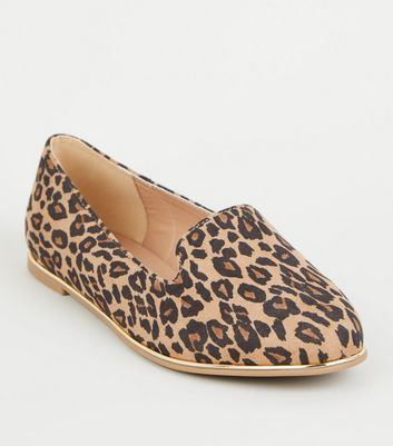 Wide Fit Stone Leopard Print Metal Trim Loafers