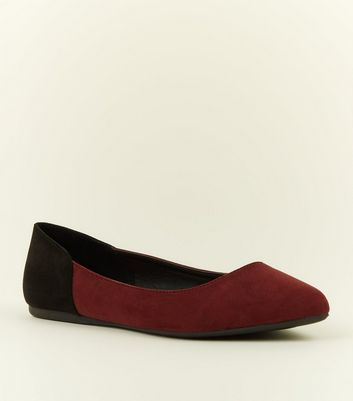 Wide Fit Dark Red Contrast Heel Pumps by New Look