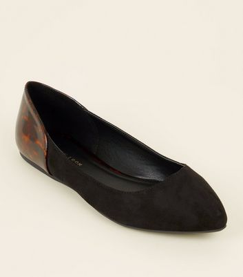 Wide Fit Black and Patent Tortoiseshell Pumps