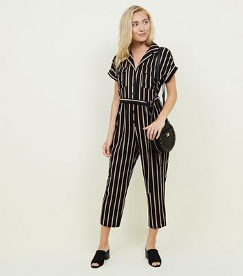 Petite Black Stripe Button Front Jumpsuit