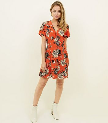 Petite Floral Print Button Through Tea Dress