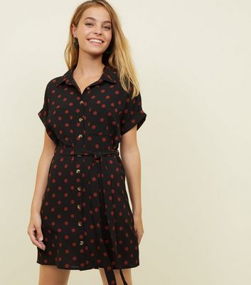 Petite Black Spot Print Mini Shirt Dress
