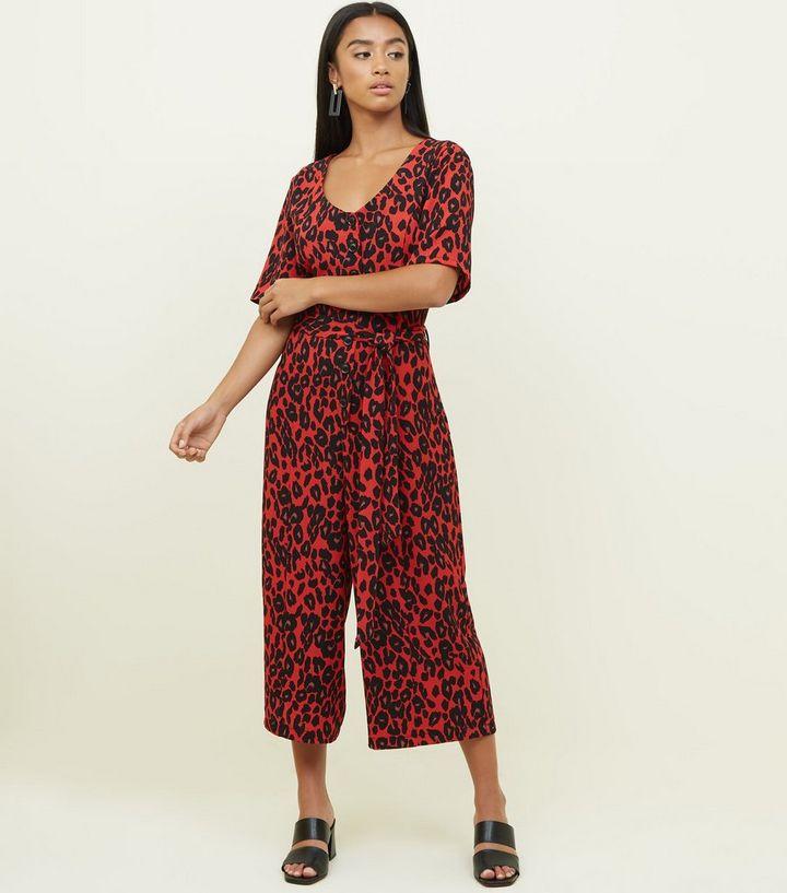 9bd325d1c84 Petite Red Leopard Print Belted Jumpsuit