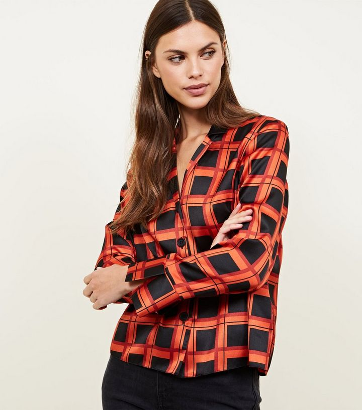 1f4f97eb Red Grid Check Satin Button Front Shirt | New Look