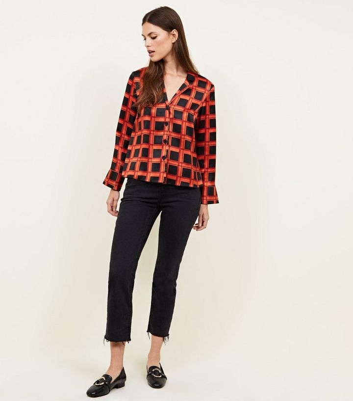 6f2ddf08eab101 ... Red Grid Check Satin Button Front Shirt. ×. ×. ×. Shop the look