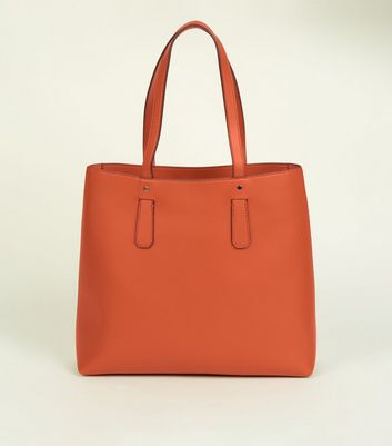 Bright Orange Leather-Look Tote Bag