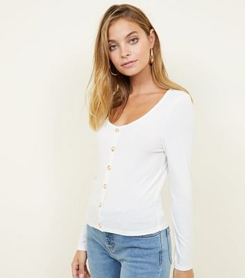 Petite Cream Button Front Ribbed Top