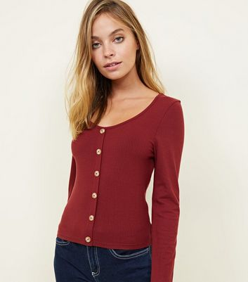 Petite Burgundy Button Through Ribbed Top