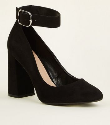 Wide Fit Black Flare Heel Ankle Strap Courts