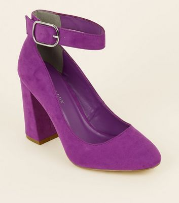 Wide Fit Purple Flare Heel Ankle Strap Courts