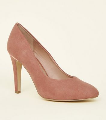 Wide Fit Pink Suedette Metal Trim Round Toe Courts