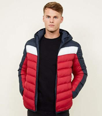 Blue Colour Block Puffer Jacket