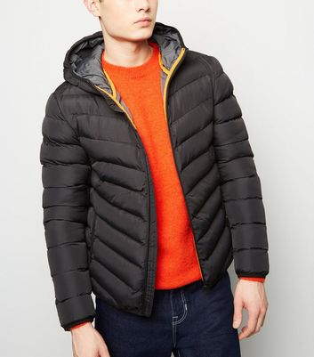 Black Lightweight Hooded Puffer Jacket