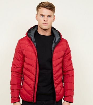 Red Lightweight Hooded Puffer Jacket