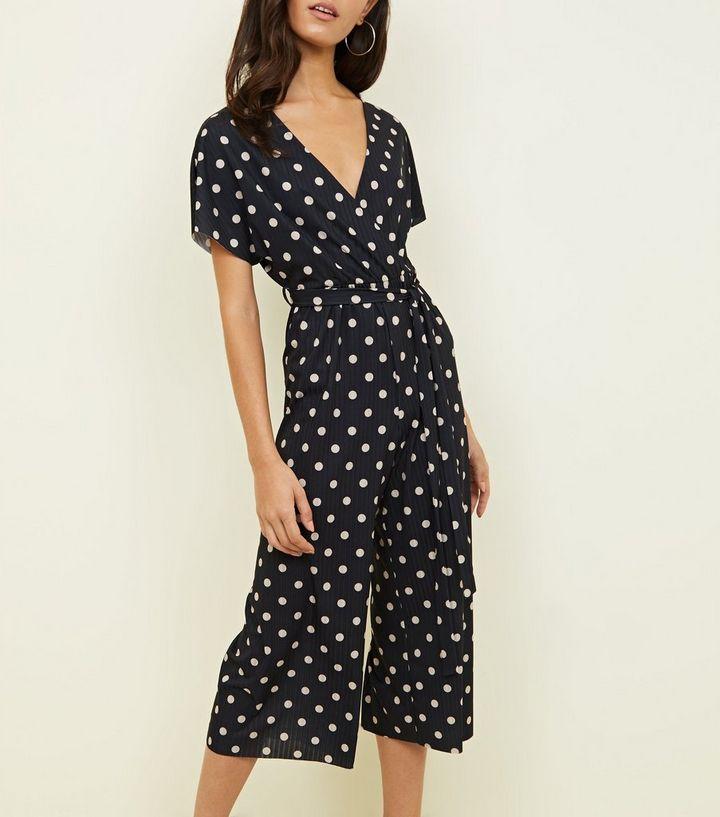 b8fa7deb4d Black Spot Print Wrap Culotte Jumpsuit