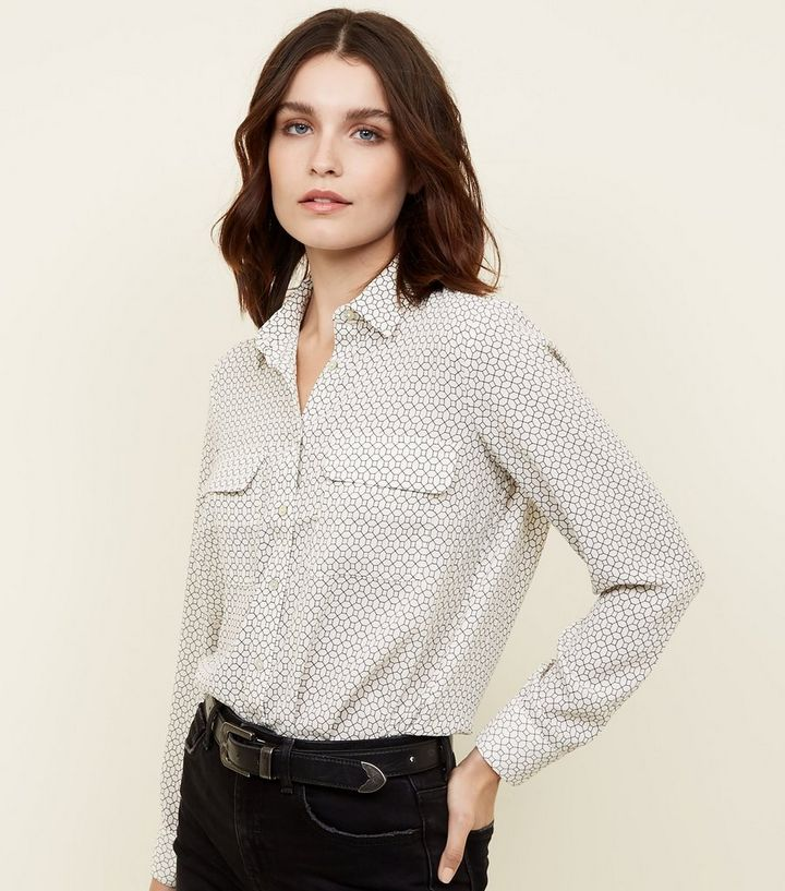 hot-selling official limpid in sight sale uk White Geometric Patch Pocket Front Shirt Add to Saved Items Remove from  Saved Items