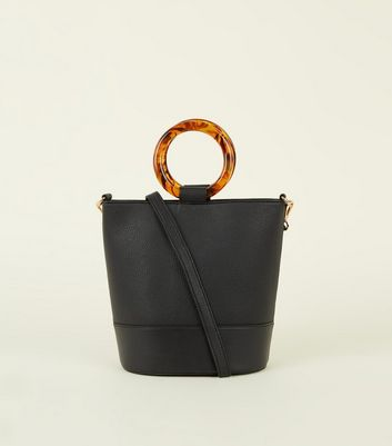 Black Resin Ring Handle Bucket Bag